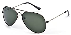 Aoron Unisex Classic Polarized Aviator Sunglasses with Dark-green Lens Gun-gray Metal Frame
