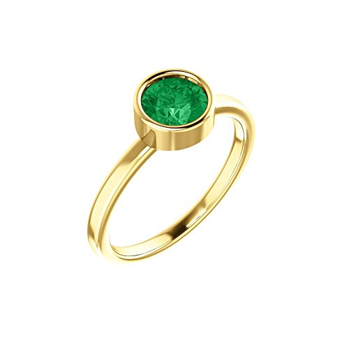 Bonyak Jewelry Lab-Created Emerald 14k Yellow Gold Chatham Created Emerald Ring - Size 7 ()