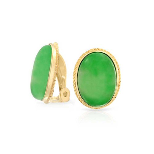 7 CT Oval Green Jade Gemstone Rope Cable Bezel Setting 14K Gold Plated Sterling Silver Clip On Earrings Clip Is Alloy