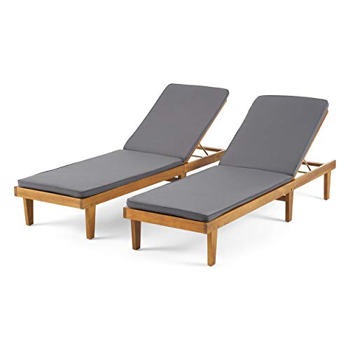 Madge Oudoor Modern Acacia Wood Chaise Lounge with Cushion (Set of 2), Teak and Dark Gray