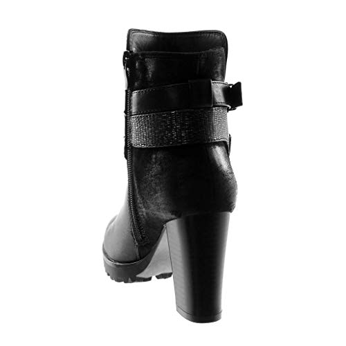 Booty Ankle Crossed Strap Shoes Buckle Heel Thongs Material Women's Block high cm Snakeskin 9 Ankle Angkorly bi Boots Fashion Black Cavalier qvzPSxX