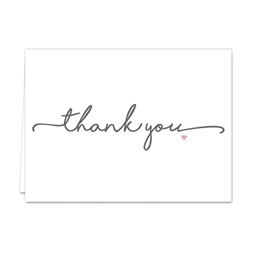 Thanks from the Heart Thank You Note Card Pack - Set of 36 cards, blank inside with white envelopes