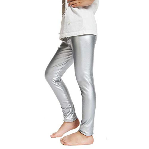Fitcat Kids Toddler Girls Faux Leather Pants Shiny Strech Leggings Tights (Metallic Silver, -