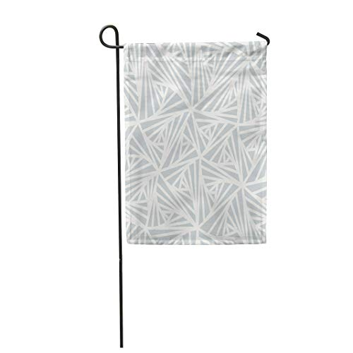 Semtomn Garden Flag 28x40 Inches Print On Two Side Polyester Gray Crystal Abstract Line Geometric Light White and Grey Winter Graphic Effect Home Yard Farm Fade Resistant Outdoor House Decor Flag