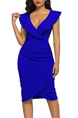 (WIWIQS Women's Sexy V Neck Bodycon Sleeveless Ruffle Dress Front Slit Bandage Plus Size Midi Club Dresses,Blue,3XL)