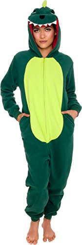 Silver Lilly Slim Fit Animal Pajamas - Adult One Piece Cosplay Dinosaur Costume (Green, Medium)