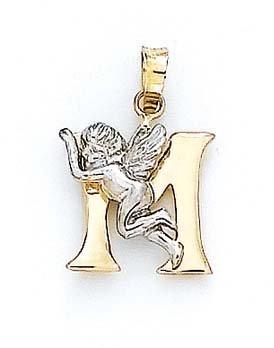 "Initiale M 14 carats avec pendentif ange de 3/4 ""- JewelryWeb"