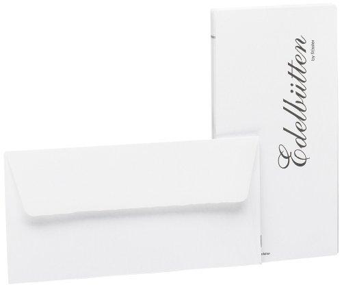 (Rössler 2032388003 DL Deckle Edged Hammer Embossed Lined Envelope - White)