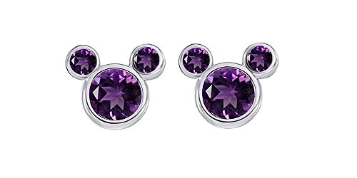 Purple February Amethyst Birthstone Mickey Mouse Stud Earrings In 14k White Gold Over Sterling Silver ()