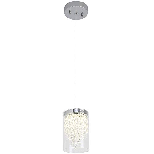 LED Pendant Light,Auffel Modern Dimmable LED Chip Light Source Lamp K9 Crystal+Clear Glass Hanging 660LM Ceiling Light fixtures Elegant Home Decor Light for Kitchen Island,Bar,Cafe Shop,Corridor