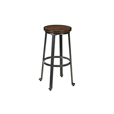 Ashley Furniture Signature Design Challiman Tall Stool, Rustic Brown, Set of 2, Pub Height