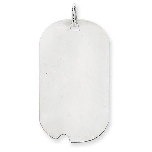 Icecarats Créatrice De Bijoux En Or 14K Blanc Ordinaire 0,013 Jauge Tag Gravable Chien W / Charme De Disque De Cran