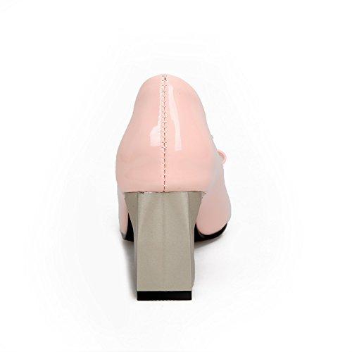 AllhqFashion Mujeres Sin cordones Puntera Cuadrada Cerrada Mini Tacón Dos tonos De salón Rosa