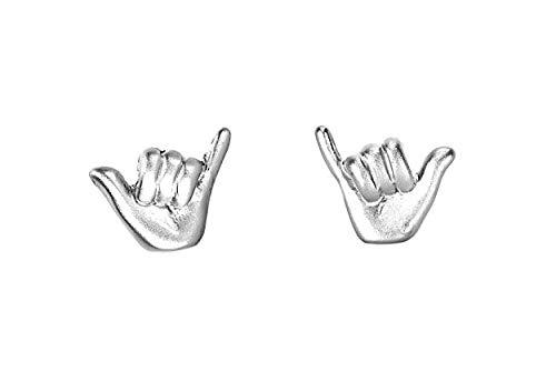 Pura Vida Silver Shaka Stud Earring Set - Brass Base w/Sterling Silver Post - Rhodium Coated Plating