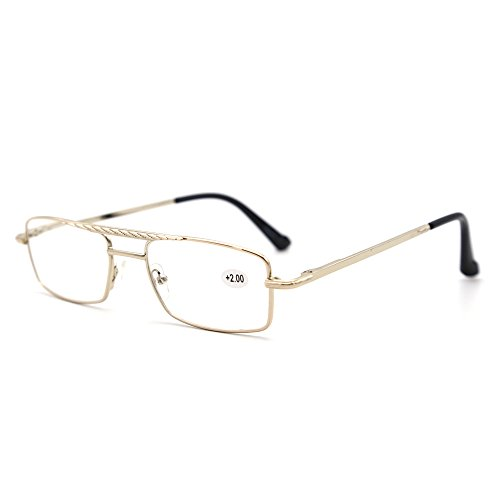 Natwve&Co Gold Reading Glasses Top Bar Spring Hinge Top Bar 2 Transparent Cases and 2 Reading Next Straps (+3.00x) by Natwve&Co 娜蔻