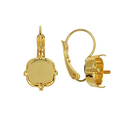 (Gita Jewelry Stone Setting for Swarovski Crystal, Square Leverback Earrings for 10mm Cushions, 1 Pair, Gold Plated)