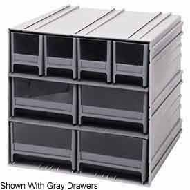 Quantum QIC-64RD Interlocking Gray Storage Cabinet with 6 Red Drawers, 11.38-Inch by 11-3/4-Inch by 11-Inch