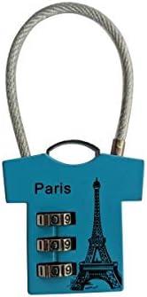 Vorh/ängeschloss Zahlenschloss 3 Zahlen T-ShirtParis hellblau