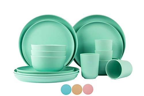 Set for 4 person bamboo fiber dinnerware dishwasher safe, reusable bamboo dinnerware, cups and plates set for adults…