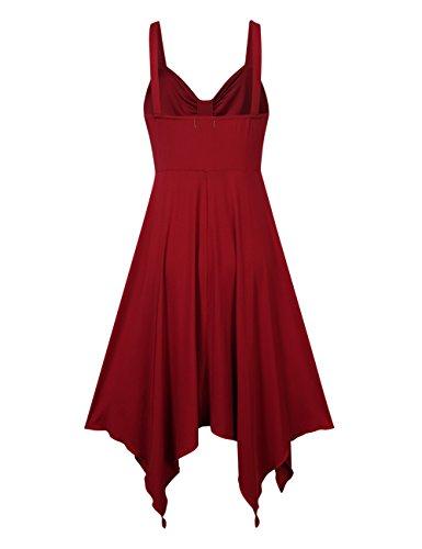 Leadingstar Women Spaghetti Strap Irregular Hem Summer Casual Beach Flared Dress Sundress-Burgundy S by Leadingstar (Image #4)