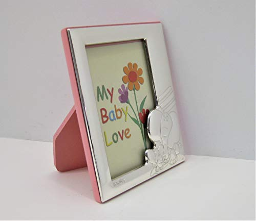 ITALIAN 925 STERLING SILVER & PINK WOOD BABY ELEPHANT KIDS 4 X 5 PICTURE ()