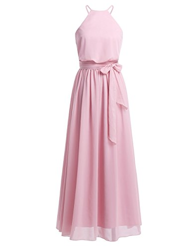 iiniim Women's Halter Chiffon Wedding Maxi Dress Evening Party Bridesmaid Long Dresses