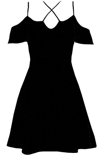 Womens Ladies Frill Sleeve Cold Shoulder V Neck Cross Strappy Flared Swing Dress