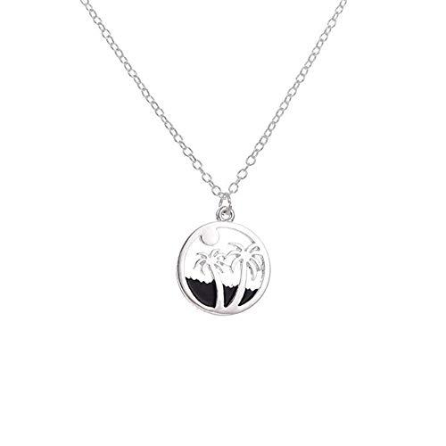 RUIZHEN Silver Beach Jewelry Sunrise Ocean Tropical Palm Tree Pendant Necklace