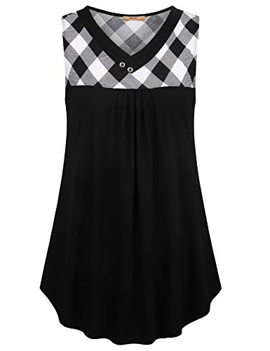 MCKOL Women's Button-Decorative Patchwork Plaid Pleat-Front Sleeveless V-Neck Blouse Tops for Skirts with Scottish Tartan (Black,Large)
