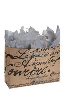 Large Paris Script Paper Shopping Bags - Case of 100 (Cabinet Paris Bookcase)