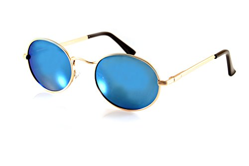 FBL John Lennon Retro Oval Sunglasses Mirrored/ Smoke Lens Spring Hinge A088 (Gold/ Blue - Glasses Blue Elton John