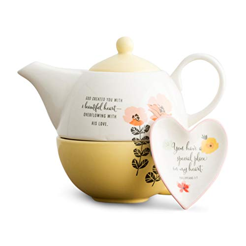 DaySpring A Beautiful Heart - Teapot & Tea Bag Holder Gift Set