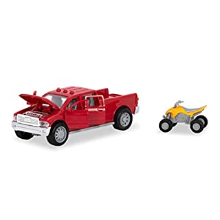 Driven by Battat – Micro Pick-Up Truck – Toy Pickup Truck with Lights, Sounds & A Toy ATV for Kids Aged 3+, Brown/A