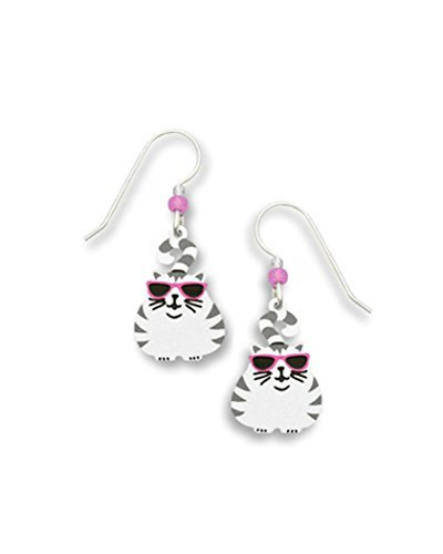 a13ec9fe621c Image Unavailable. Image not available for. Color  Fat cat with Stripes   Glasses  Earrings Made in USA by Sienna Sky ...