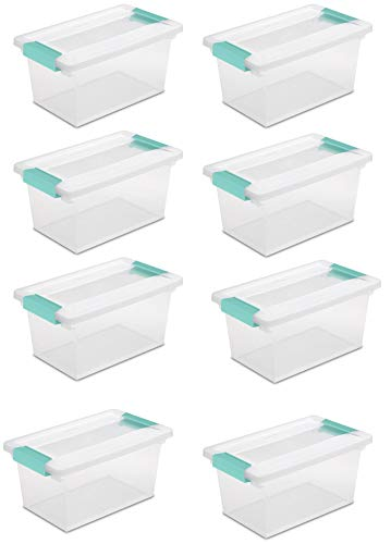 STERILITE Medium Clip Box Clear Storage Tote Container with Lid (8 Pack) ()