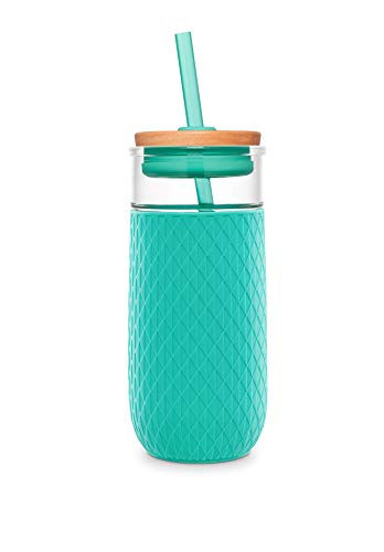 Ello Devon 20oz Glass Tumbler with Straw and Silicone Boot (Mint) ()