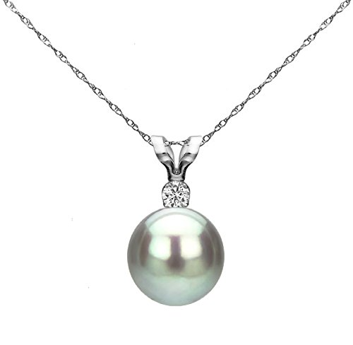 Diamond Pendant Grey Cultured Freshwater Pearl 14K White Gold Chain...
