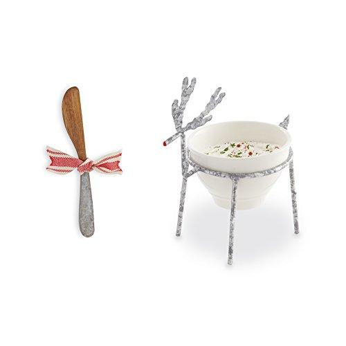 Mud Pie 4855086 Reindeer Dip Bowl Set, Silver White