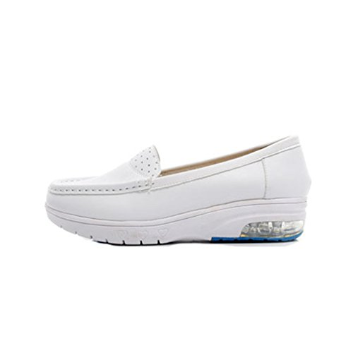 GIY Womens Casual Loafers Hollow Out Lightweight Air-Cushion Slip-On Flats Work Boat Walking Nurse Shoes White udFK5g