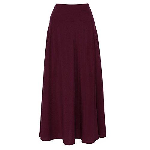 (Aline Long Skirt for Women High Waist Maxi Skirt Pleated Front Slit Belted Red)