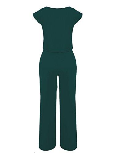 VLUNT Women's 2 Pieces Jumpsuits Outfit Crop Top Wide Leg Pants with Belt,Dark Green-M by VLUNT (Image #3)