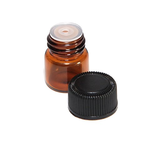 25 Pcs 1ML Amber Glass Bottles Mini Essential Oil Vials Containers with Orifice Reducers and Black Cap for Aromatherapy Reagents Cologne Perfume Samples (1ml Bottle)