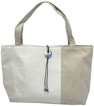 Hhpcspc Bolsa de Tela Lisa Decorativa con Hebilla de Porcelana de algodón Azul y Blanca con Lino Engrosado y Empalme de Lona (Color : White): Amazon.es: Hogar