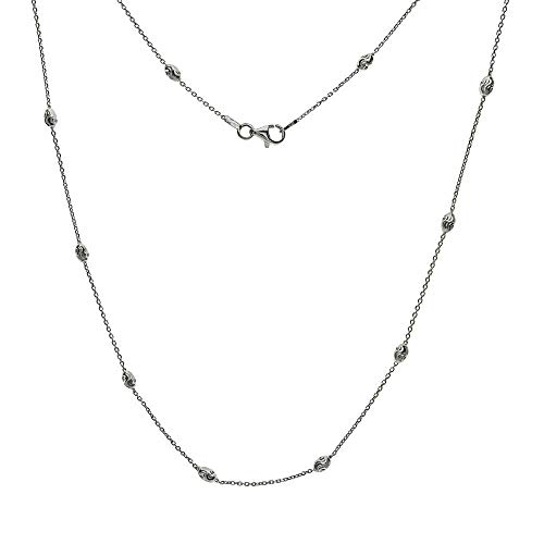 Italian Sterling Silver 3mm Oval D/C Bead Station Chain Necklace 20