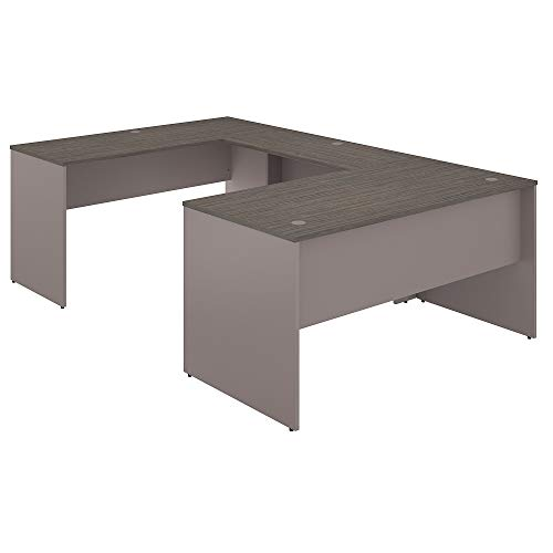 - Bush Furniture Commerce 60W U Shaped Desk in Cocoa and Pewter