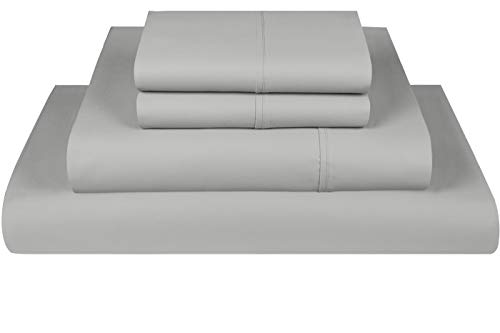 (Threadmill Home Linen 800 Thread Count 100% Extra-Long Staple Cotton Solid Bed Sheet Set, California King Sheet, Luxury Bedding, California King 4 Piece Sheet Set, Smooth Sateen Weave,Silver)