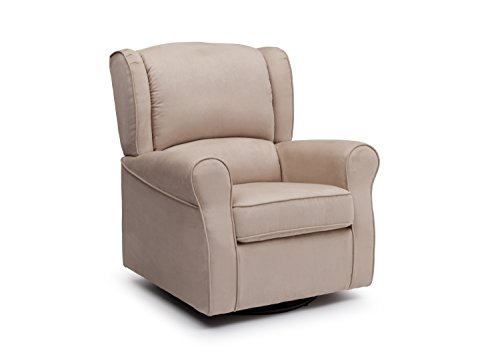 Delta Furniture Morgan Upholstered Glider Swivel Rocker Chair, Ecru
