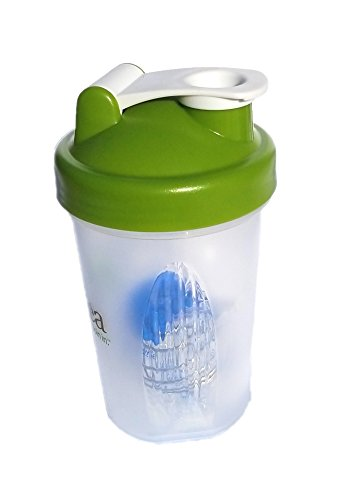 Protein Shaker Bottle w/Metal Ball,16oz BPA Free Classic Loop Top ()