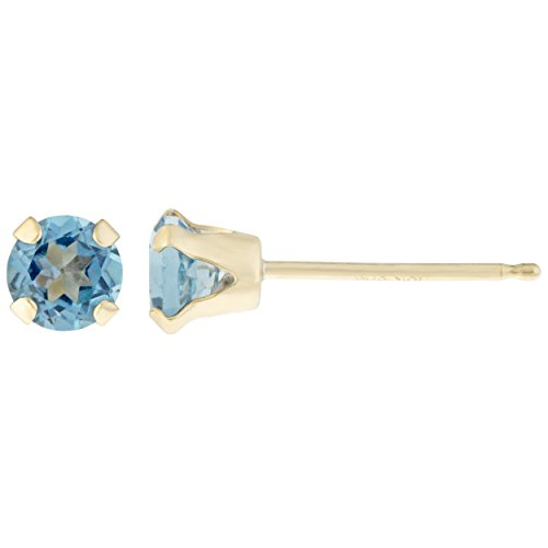 Lavari - .50 cttw Round 4MM Natural Blue Topaz 10K Yellow Gold Stud Earrings