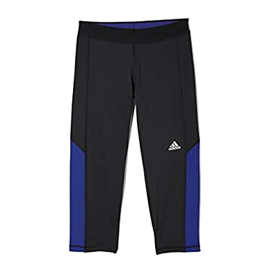 New Adidas Women's Techfit Capri Tights Black/Amazon Purple X-Small